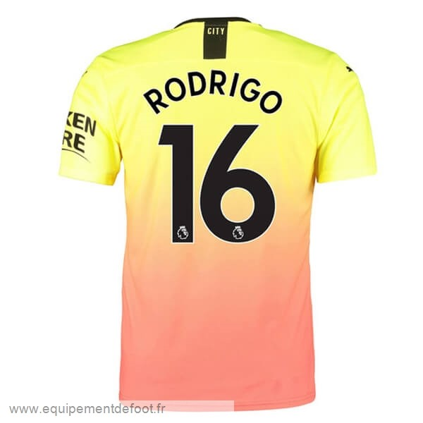 NO.16 Rodrigo Third Maillot Manchester City 2019 2020 Orange Pas Cher En Ligne