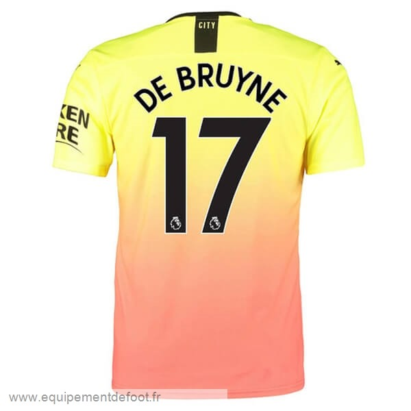 NO.17 De Bruyne Third Maillot Manchester City 2019 2020 Orange Pas Cher En Ligne